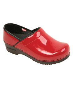This Red Narrow Professional Patent Leather Clog - Women is perfect! #zulilyfinds