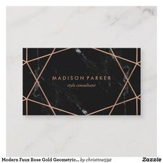 Modern Faux Rose Gold Geometric on Black Marble Business Card - Are you ready to take your business to the next level? Start with a new business card. Beauty Business Cards, Gold Business Card, Unique Business Cards, Business Card Design, Black And Gold Marble, Pink Marble, Name Card Design, Rose Gold, Yoga
