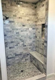 Shower Tile Shower Tile Ideas Shower floor is Carrara marble hexagon tile and wa. Shower Tile Shower Tile Ideas Shower floor is Carrara marble hexagon tile and walls are Carrara subway tile Shower seat is a solid slab of Mont Bl. Bad Inspiration, Bathroom Inspiration, Subway Tile Showers, Tiled Showers, Marble Showers, Subway Tiles, Shower Seat, Shower Base, Stone Shower Floor