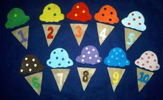 For sale is a 20 piece ice cream matching game. Each cone has a number and each scoop has dots. The children match the numbered cone with the scoop with the correct number of dots. This is a great tool to teach number recognition and counting.(Felt board not included)   As an added bonus I will include a cute reproducible craft. Each scoop of ice cream has a number and that many dots. The children color and cut out the craft and can use it to count and for number recognition.    Each set…