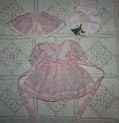 Darling Three Piece Pink Flocked Nylon Party Dress for Hard Plastic from camelot-pc-rl on Ruby Lane