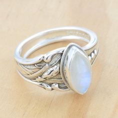 Spoon Ring with Rainbow Moonstone, Upcycled Sterling Silver, Size 8