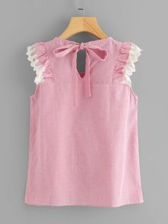 Tie Back Ruffle Trim Pinstripe Top -SheIn(Sheinside) Frock Design, Pakistani Kids Dresses, Pink Outfits, Fashion Outfits, Kids Frocks Design, Cute Blouses, Girls Tees, Dress Backs, Ruffle Trim