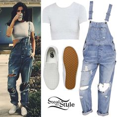 Selena Gomez posted a picture on instagram a few days ago wearing a Kimchi Blue Fuzzy Cropped Tee ($44.00) and a BDG Ryder Boyfriend Overall ($99.00) from Urban Outfitters, with Vans Embossed Slip-On Sneakers ($60.00 – similar style).