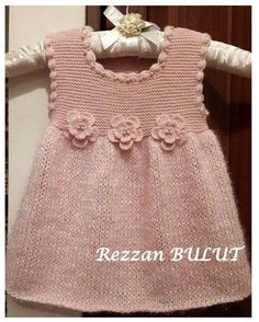 """diy_crafts- """"Knit dress - simple, sweet, lovely ~~ Garter bodice, stockinett skirt, finished with crochet puff stitch edging and 3 crochet flow Knitting Baby Girl, Knitting For Kids, Baby Knitting Patterns, Crochet Baby, Knit Crochet, Knitted Baby, Baby Knits, Girls Knitted Dress, Knit Baby Dress"""