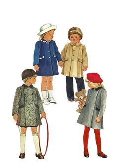 Simplicity 6661 1980s Childs Single or Double Breasted  Coat boys girls vintage coat sewing pattern by mbchills