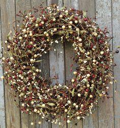 Pip Berry Wreath Slate Grey Reds Plum Cream and Mustard Berry