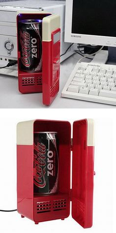 With the USB Mini Fridge you can keep a cool beverage ready to drink at all times! The personal USB Fridgerator holds a single 12 ounce can which is illuminated from the blue LED inside the fridge. Mini Fridge, Cool Pins, Looks Cool, Beverage, Usb, Cold, Times, Canning, Cool Stuff