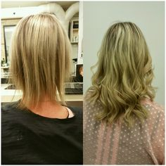 """Before and after great lengths 8"""" bonded extensions by Cassandra"""