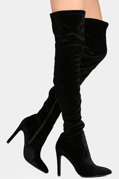 Velvet Pointy Toe Thigh High Boots