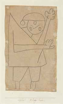 """Paul Klee 'Klage Lied' (Song of Complaint [my own attempt at translation  g.s.])  1939  Charcoal on paper mounted on card  13 3/4 x 8 1/4"""""""