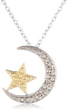 "18k Gold Plated and Sterling Silver Diamond-Accented Moon and Star Pendant Necklace 18"" - Latest Jewellery Designs 