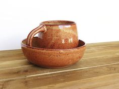 Ceramic Pottery Breakfast Set  One Cup and One by dorothydomingo