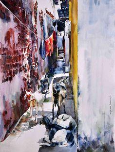 "Indian Watercolor Artist- ""Rajkumar Sthabathy"" 1975 - Fine Art and You - Painting Watercolor Artists, Watercolor Animals, Watercolour Paintings, Watercolours, Painting Art, Watercolor Architecture, Watercolor Landscape, Watercolor Scenery, Watercolor Images"