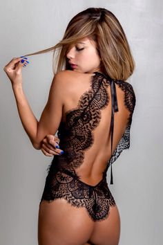 Camisole lace black backless lingerie sexy