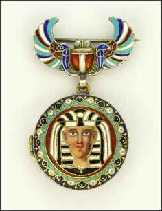 Egyptian Revival Art Deco Silver Enameled Scarab Pin and Pharaoh Locket