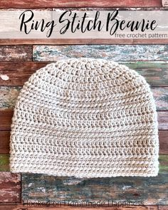Ring Stitch Beanie Crochet Pattern (CAL for a Cause) - Hooked on Homemade Happiness Crochet Beanie Pattern, Crochet Cap, Free Crochet, Crochet Patterns, Hat Patterns, Crochet Ideas, Chrochet, Crochet Dolls, Crochet Hats For Boys
