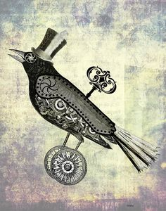 Steampunk Crow 8x10 In Top Hat Art Print Illustration Poster Wall Decor Wall Art Wall Hanging Raven Rook