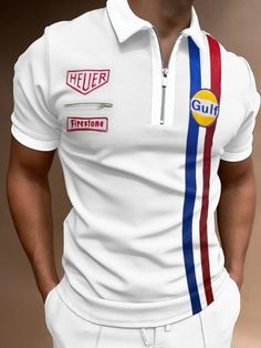Sports Jersey Design, Polo Shirt White, Short Sleeve Polo Shirts, Streetwear Fashion, Cool Shirts, Types Of Sleeves, Trendy Outfits, Street Wear, Mens Tops
