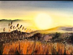 Watercolor Sunset by the Beach Painting Demonstration - YouTube