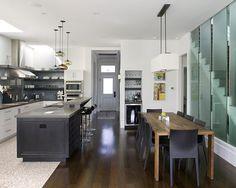 Feldman Architecture kitchen project featuring Niche Modern kitchen lighting with Aurora pendants Modern Kitchen Tables, Modern Kitchen Lighting, Kitchen Lighting Fixtures, Kitchen Dining, Kitchen Tile, Kitchen Bars, Kitchen Grey, Space Kitchen, Kitchen Contemporary