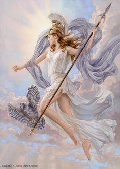 Athena - virgin goddess of reason, intelligent activity, arts and literature; daughter of Zeus