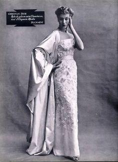 Christian Dior (Couture) 1952 Vestido de Noite, Bordado, Jacques Decaux