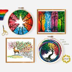 Cross Stitch Tree, Simple Cross Stitch, Cross Stitch Charts, Counted Cross Stitch Patterns, Modern Cross Stitch Patterns, Cross Stitch Designs, Cross Stitch Landscape, Watercolor Pattern, Watercolor Art