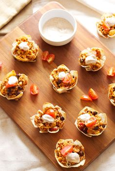 Mini Taco Cups   Recipe Runner   All your favorite taco flavors in an edible wonton cup! #appetizer #gamedayeats #tacos