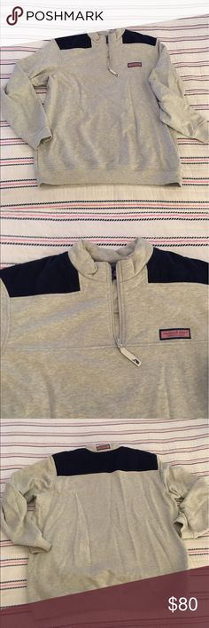 ⭐️WEEKEND SALE⭐️ Vineyard Vines Shep Shirt Worn once! Vineyard Vines gray with navy corduroy shoulders Shep Shirt. Men's M but I wore and I typically wear a women's XL. a little extra comfy that way! Vineyard Vines Tops Sweatshirts & Hoodies