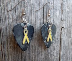 Yellow Ribbon Charm Guitar Pick Earrings - Pick Your Color by ItsYourPick on Etsy