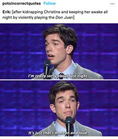 Theatre Geek, Broadway Theatre, Music Theater, Heathers The Musical Funny, Stupid Memes, Funny Memes, Music Of The Night, John Mulaney, Don Juan