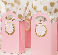 Beading buds pink and gold loot bags.