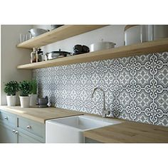 Wickes Melia Sage Patterned Ceramic Wall & Floor Tile 200 x Kitchen Splashback Tiles, Kitchen Flooring, Wall Tiles For Kitchen, Bathroom Wall Tiles, Tin Tile Backsplash, Kitchen Floor Tile Patterns, Kitchen Wall Panels, Kitchen Feature Wall, Kitchen Wall Design
