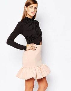 The 8th Sign 2 In 1 Dress With Wrap Front Top With Peplum Skirt