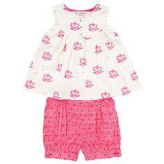 Buy John Lewis Baby Flower Top and Shorts Set, Pink Online at johnlewis.com