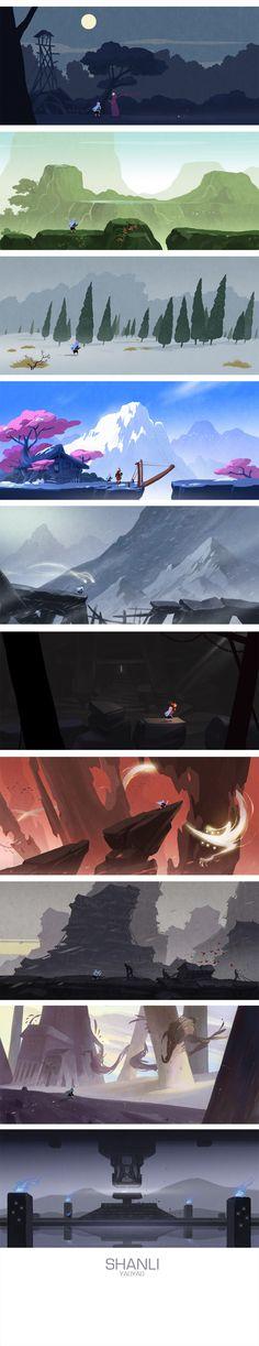 Source Behance : https://www.behance.net/gallery/19280969/shanli-20140825 À voir aussi : http://www.pinterest.com/joannelush/game-art/