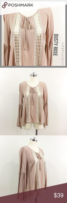 """🆕 LIMONATA • NWOT dusty rose long sleeve blouse • NEW without tags very cute loose dusty rose blouse • round neck with tie front & key hole • two see through crochet panels at the font • long sleeve with slight bell sleeves  ✂️  Bust = 36"""" ✂️  Waist = 40"""" ✂️ Shoulder= 14"""" ✂️  Length = 24""""  • sorry no trades • please feel free to ask any questions  ❤️ @mikimakes Limonata Tops Blouses"""