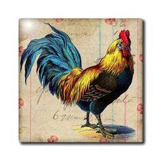 ct_108229_3 Cassie Peters Chickens - Vintage Rooster Digital Art by Angelandspot - Tiles - 8 Inch Ceramic Tile 3dRose,http://www.amazon.com/dp/B00BWCPSF2/ref=cm_sw_r_pi_dp_rGhltb0PD069KPT0