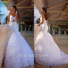 2017 Gorgeous Saudi Arabia Tiered Wedding Dresses Spaghetti Straps Backless Vestidos De Novia Custom Made Bridal Gowns Plus Size