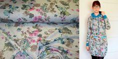 Kinderstoffe -  Sommer Sweat Rosen Muster petrol grün - ein Designerstück von Nordlicht-Stoffe bei DaWanda
