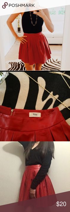 Tobi Faux Leather Skirt ❤️ Red 'vegan' leather skirt. This Tobi skirt is a XS/S and is true to size. High waisted with pleats and a zipper in the back. You are sure to turn heads in this skirt! ❤️ Tobi Skirts Circle & Skater