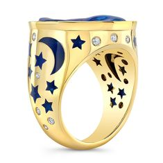 Moon and Stars Opal Ring