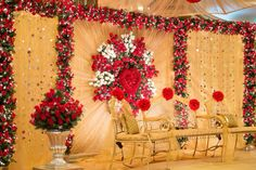 Stage by www.tamannasdecor.com  #bride #Bangladeshi #Indian #Pakistani #wedding #stage #decor #desi #AsianWedding Wedding Stage Backdrop, Wedding Hall Decorations, Wedding Mandap, Wedding Themes, Reception Backdrop, Marriage Decoration, Aisle Decorations, Wedding Cards, Exotic Wedding