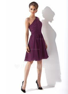 Vestidos princesa/ Formato A Um ombro Coquetel De chiffon Vestido de madrinha com Pregueado Curvado (007000918)