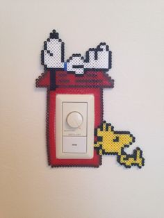 Snoopy light switch frame perler beads