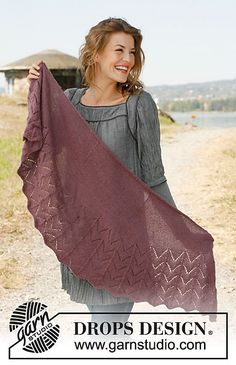 """Diva - Knitted DROPS shawl with wave pattern in """"Alpaca"""" or """"BabyAlpaca Silk"""". - Free pattern by DROPS Design Baby Knitting Patterns, Lace Knitting, Knitting Designs, Finger Knitting, Scarf Patterns, Drops Design, Poncho Crochet, Knitted Shawls, Lace Shawls"""