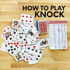 Learn how to play card games with these simple instructions for the game KNOCK. Printable instructions and score sheet included! Group Card Games, Family Card Games, Fun Card Games, Card Games For Kids, Party Games, Kid Games, Party Fun, Party Ideas, Games To Play With Kids