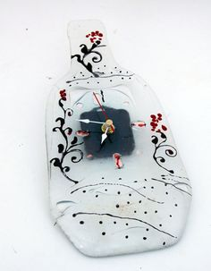 Wall clock   Fused glass  Red poppy and black by virtulyglass, $40.00
