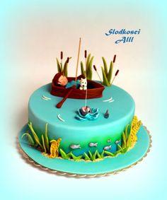 Gone Fishing birthday cake Fishing Theme Cake, Gone Fishing Cake, Fish Cake Birthday, 50th Cake, Cupcakes, Trout Fishing, Fishing Rod, Ice Fishing, Fishing Boats